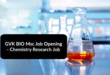 GVK BIO Msc Job Opening - Chemistry Research Job