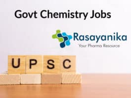 UPSC Chemistry Job Opening - Chemistry Scientific Officer Salary Up to 68,000 pm