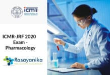 ICMR-JRF 2020 Exam - Pharmacology ICMR Junior Research Fellowship