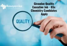 Givaudan Quality Executive Job - BSc Chemistry Candidates Apply