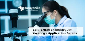 CSIR-CMERI Chemistry JRF Vacancy - Application Details