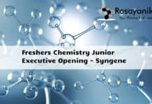 Freshers Chemistry Junior Executive Job Opening - Syngene