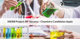 IISERB Project JRF Vacancy - Chemistry Candidates Apply