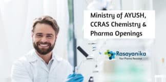 Ministry of AYUSH, CCRAS Chemistry & Pharma Openings 2020