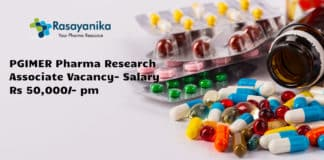 PGIMER Pharma Research Associate Vacancy- Salary Rs 50,000/- pm