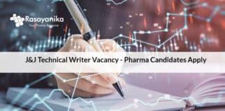 J&J Technical Writer Vacancy - Pharma Candidates Apply
