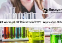 NIT Warangal JRF Recruitment 2020 - Application Details