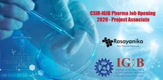 CSIR-IGIB Pharma Job Opening 2020 - Project Associate