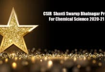 CSIR Shanti Swarup Bhatnagar Prize For Chemical Science 2020-21