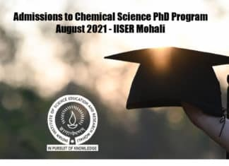 Admissions to Chemical Science PhD Program August 2021 - IISER Mohali