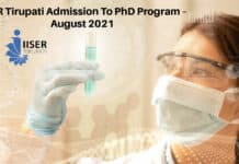 IISER Tirupati Admission To PhD Program – August 2021