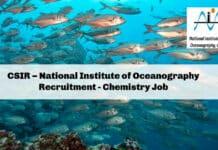 CSIR – National Institute of Oceanography Recruitment - Chemistry Job