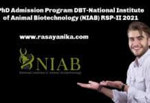 PhD Admission Program DBT-National Institute of Animal Biotechnology (NIAB) RSP-II 2021